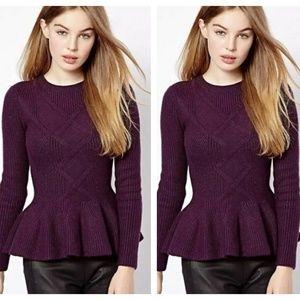 TED BAKER Ohavia Peplum Sweater Grape {EE50}
